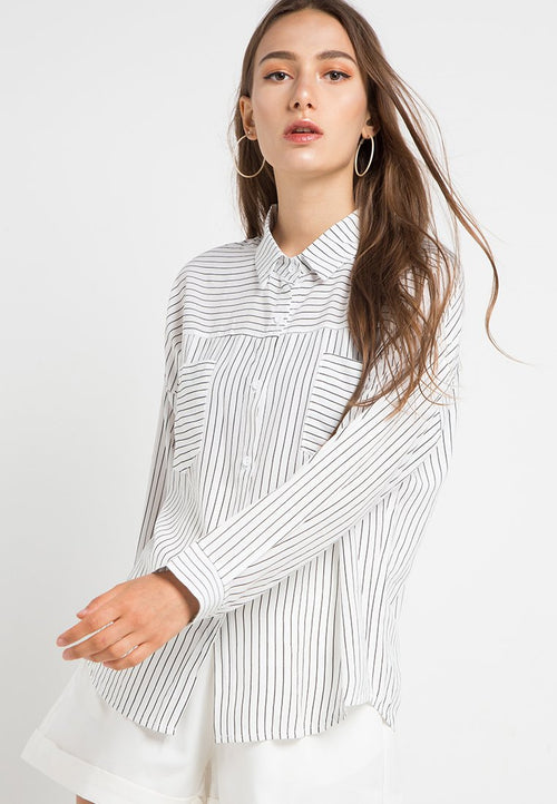 MINEOLA Two Front Pockets Stripe Shirt White(11903117FW)