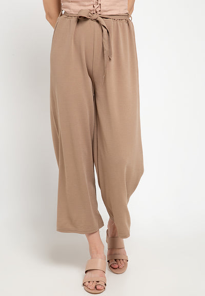 Basic Tie Belt Cotton Culotte