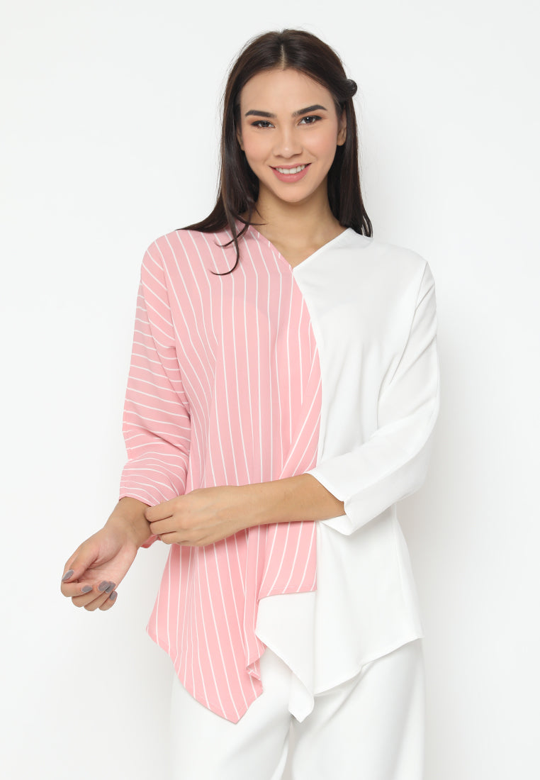 Mineola Two Tone V-Neck Blouse