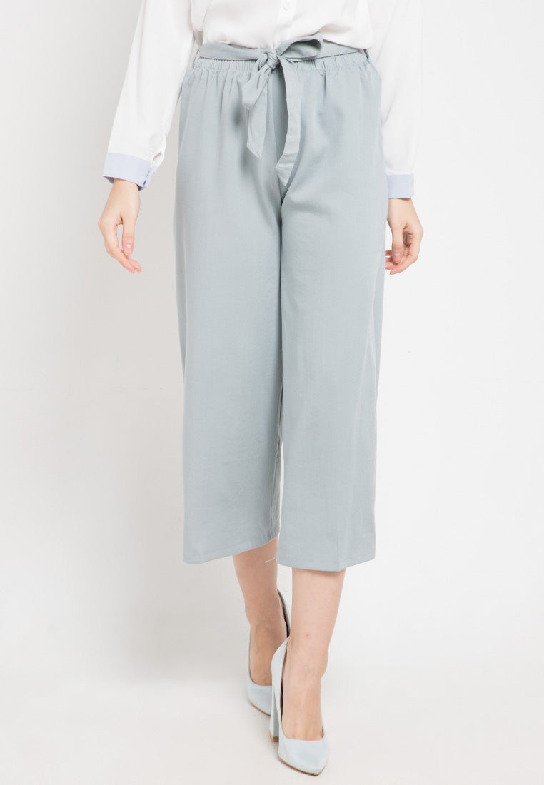 Mineola Tie Belt Cotton Culotte Pants Grey
