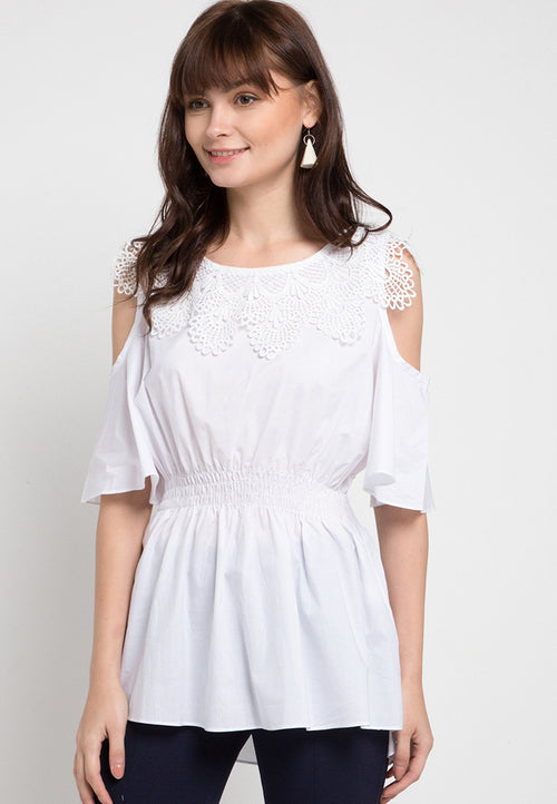 Mineola Lace Off Shoulder Cotton Top White