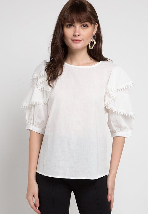 Mineola Ruffle Sleeves Cotton Top White