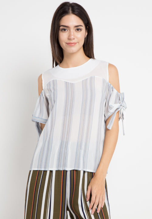 Mineola Drop Shoulder Striped Blouse Blue