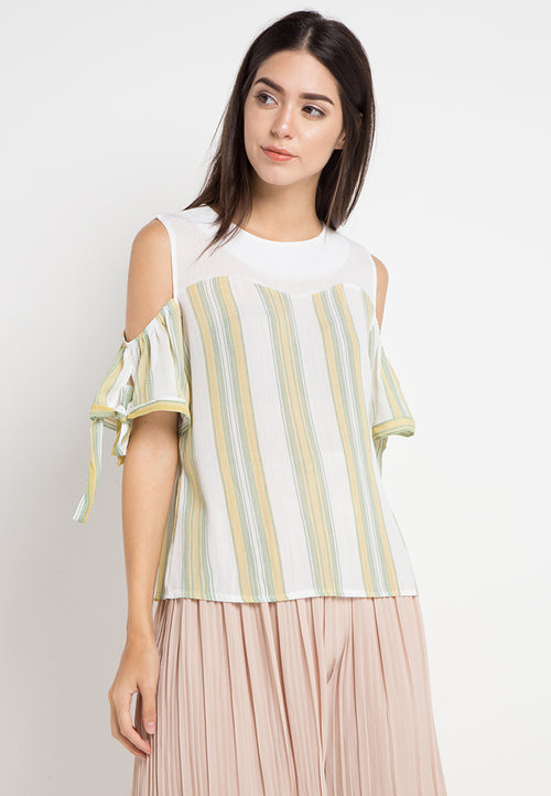 Mineola Drop Shoulder Striped Blouse Yellow