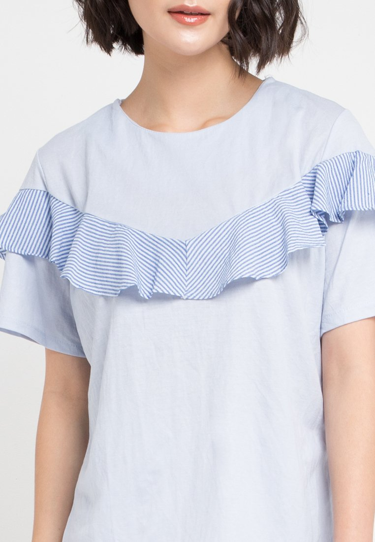 Mineola Patite Striped Ruffle Front Blouse Blue