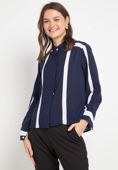 Mineola Round Neck Long Sleeve Blouse Navy