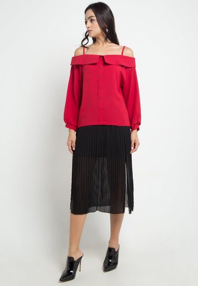 Mineola Sabrina Long Sleeve Red