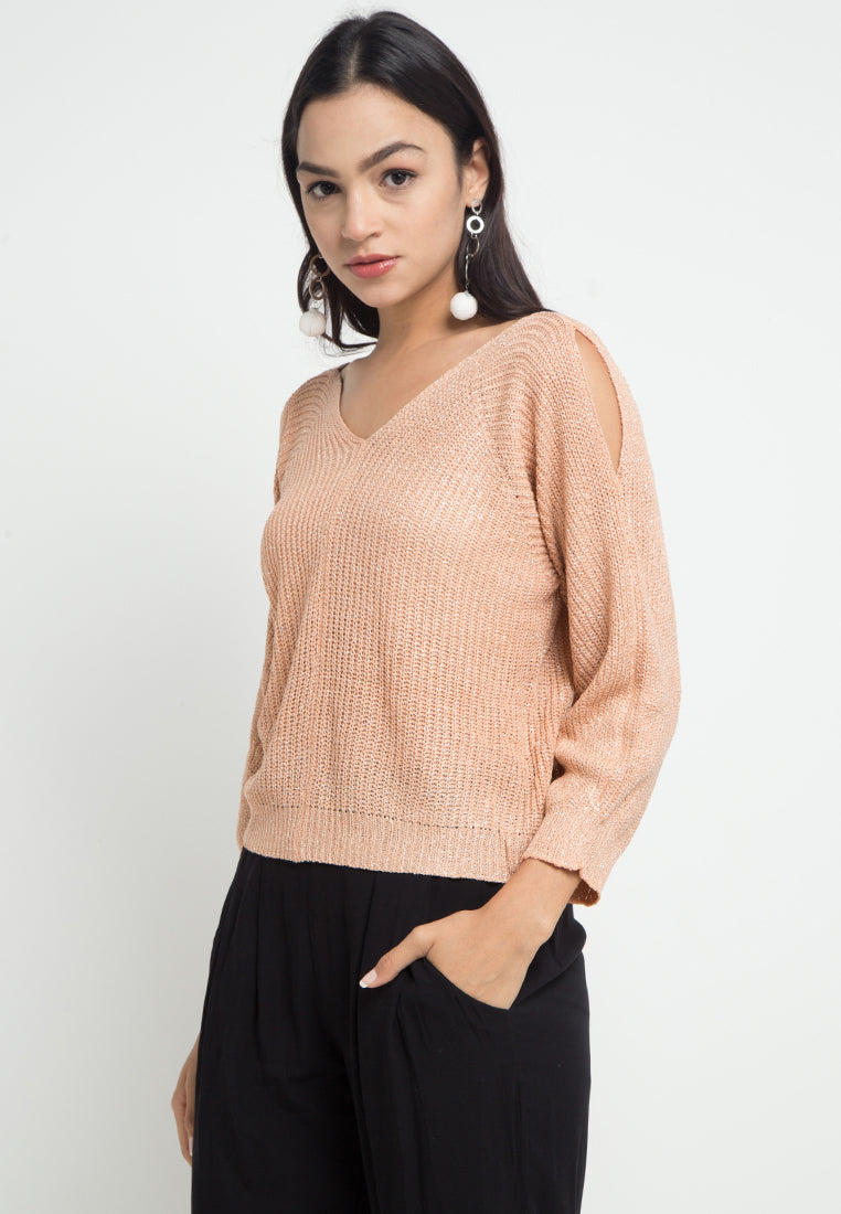 Mineola V Neck Crop Blouse Brown