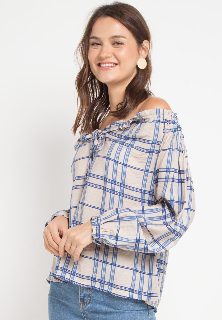 Mineola Sabrina Long Sleeve Blouse Blue