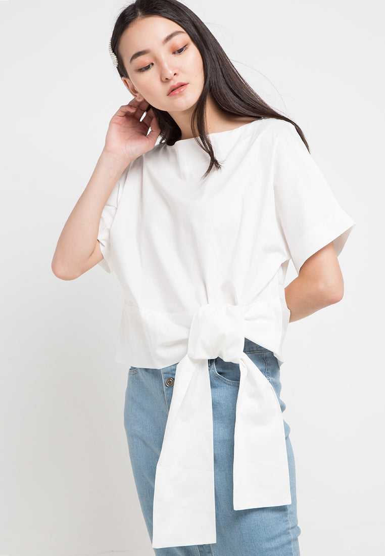 Mineola Cropped Waist Tie Top White
