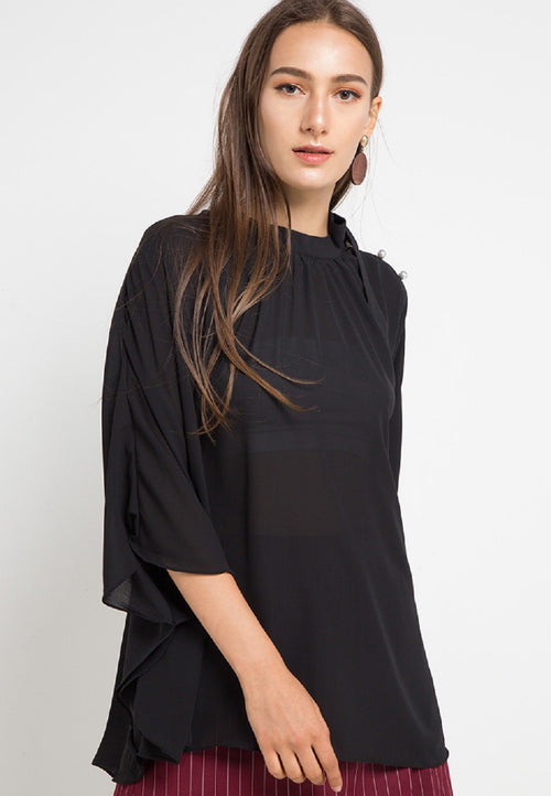 MINEOLA Batwing Pearl Button Blouse Black