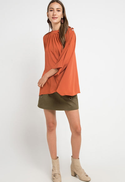 MINEOLA Batwing Pearl Button Blouse Orange