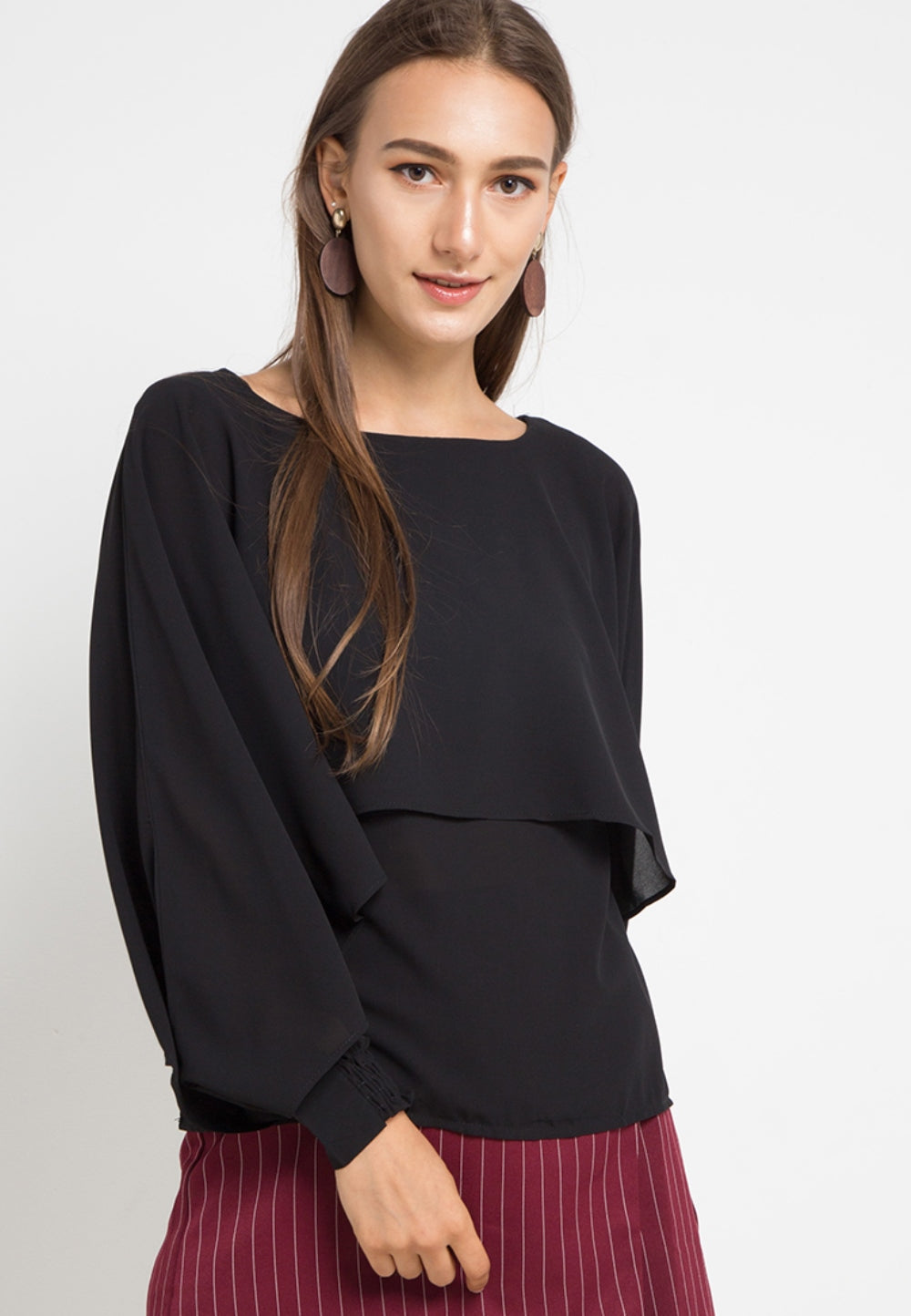 MINEOLA Batwing Layered Blouse Black