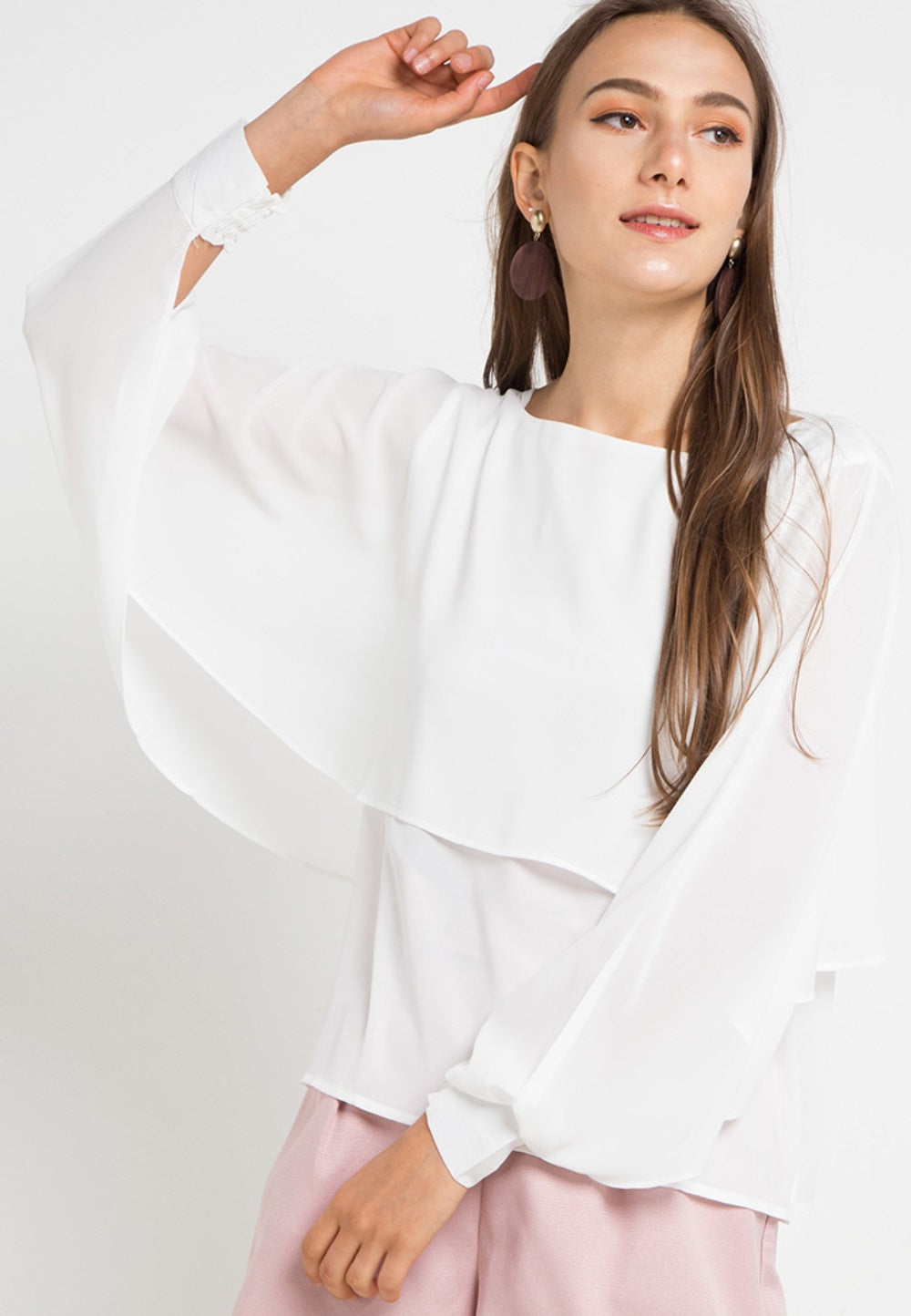 MINEOLA Batwing Layered Blouse White