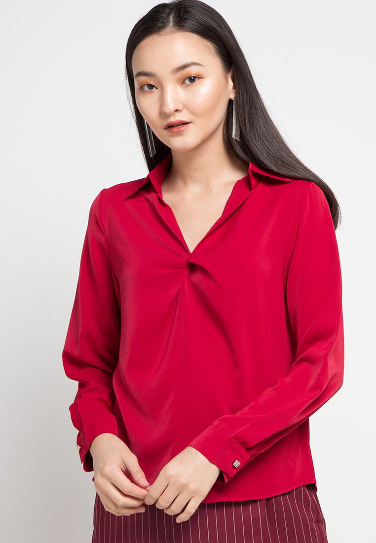 MINEOLA V Neck Collar Blouse Red