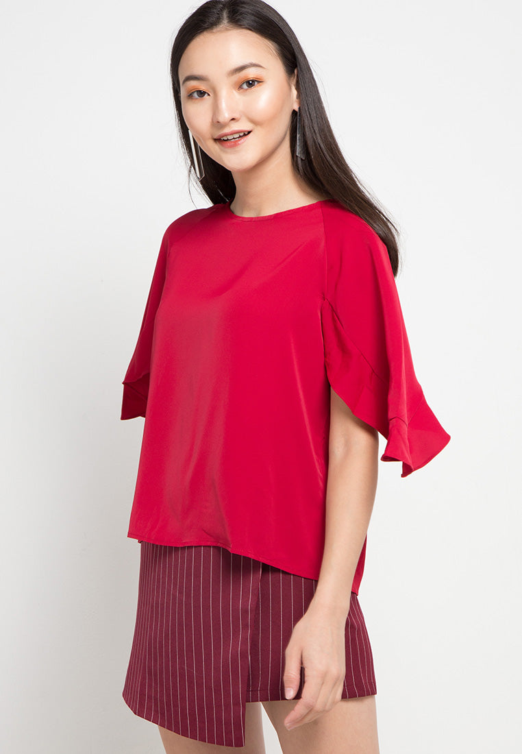 MINEOLA Batwing Sleeve Blouse Red