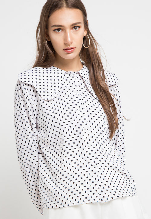 MINEOLA Polkadot Dolly Collar Blouse White