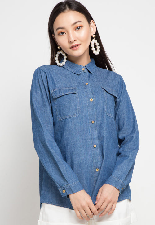 MINEOLA Button Down Denim Shirt Dark Blue