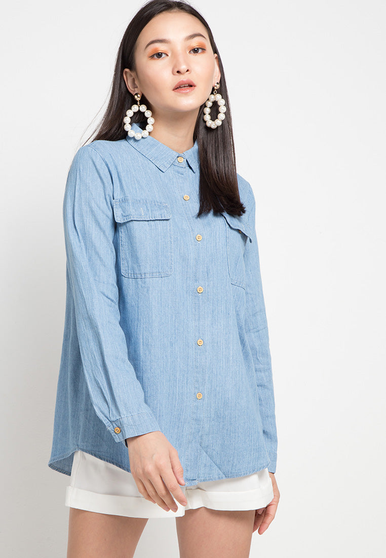 MINEOLA Button Down Denim Shirt Light Blue