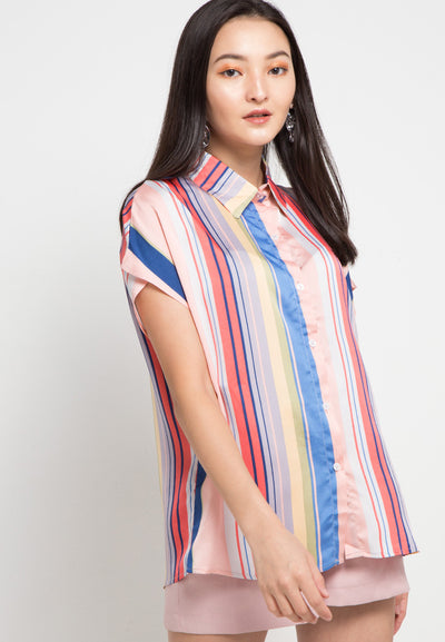 MINEOLA Colourful Big Stripe Blouse Pink