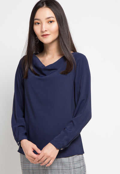 MINEOLA Cowl Neck Blouse Navy