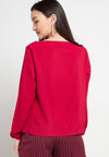 MINEOLA Cowl Neck Blouse Red