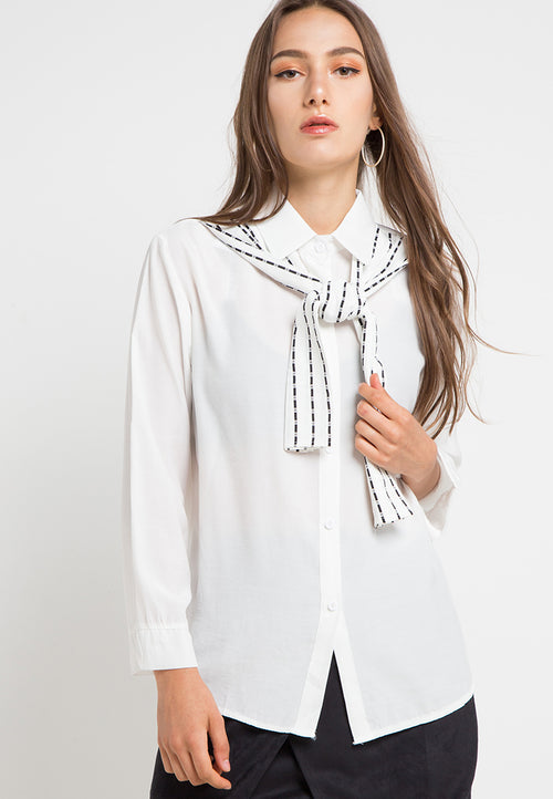 MINEOLA Button Down Shirt With Stripe White