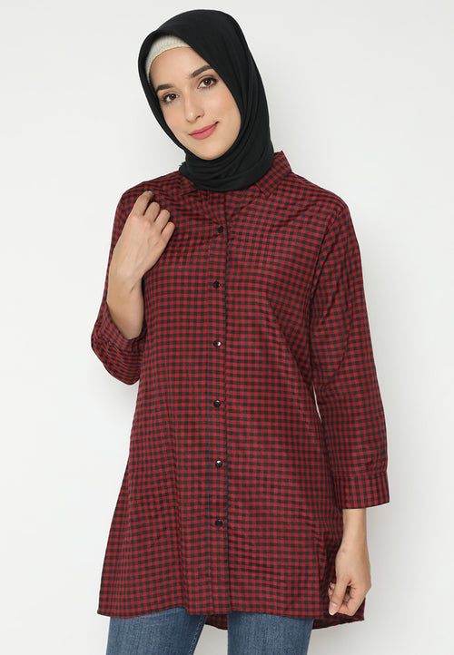 MINEOLA Hijab Tunic Shirt Dress Maroon