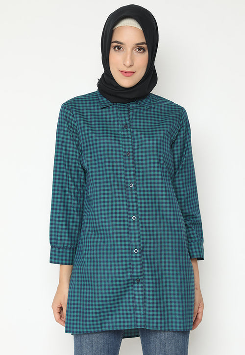MINEOLA Hijab Tunic Shirt Dress Green