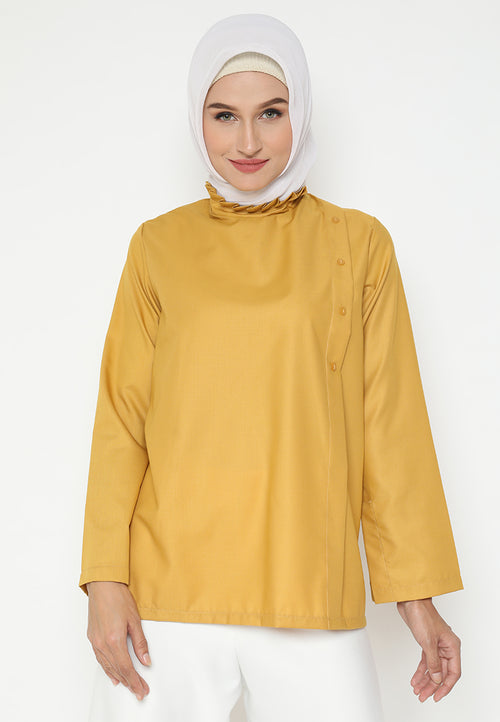 MINEOLA Hijab Cotton Muslim Top Yellow