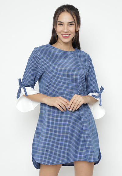 Mineola Flare Sleeve Checkered Dress