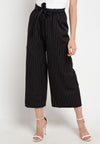 Stripped Tie Belt Cotton Culotte