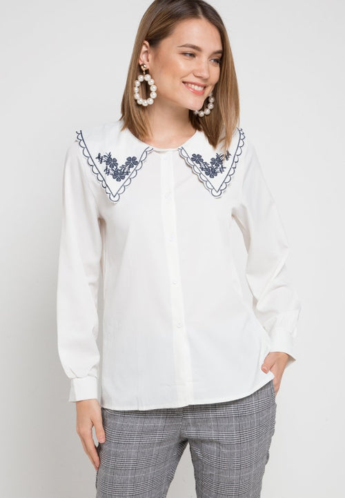 Mineola Embroidered Collar Blouse White