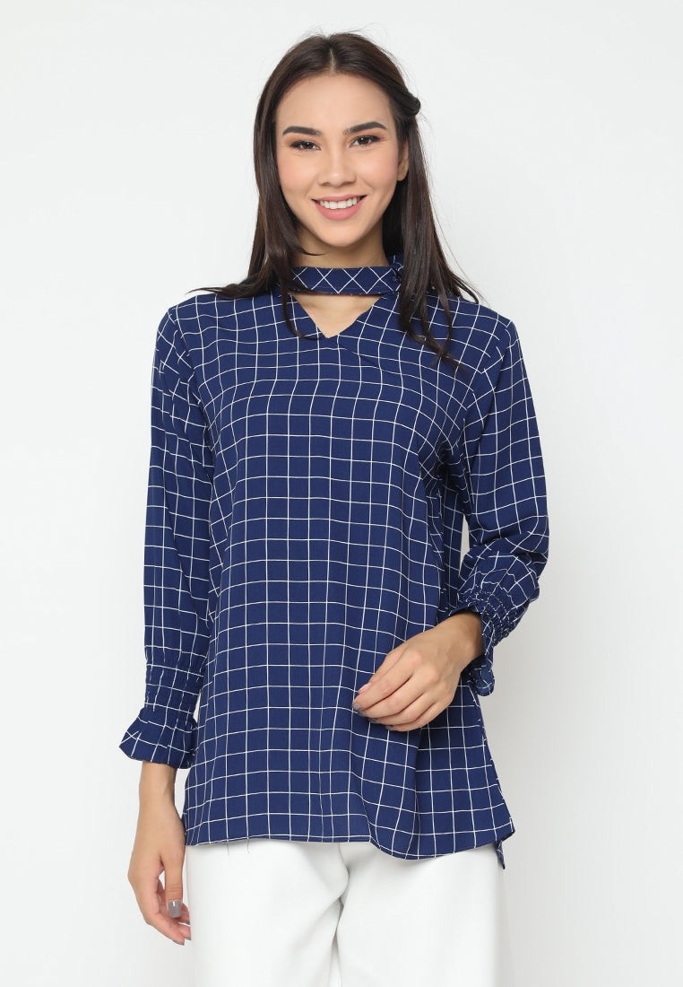 Mineola Long Sleeves Checkered Blouse