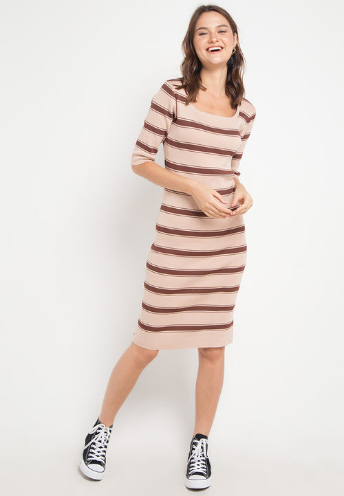 Mineola Stripe Long Dress Brown (41809404FO)