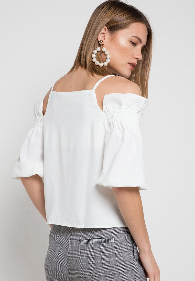 Mineola Off Shoulder Strappy Top White