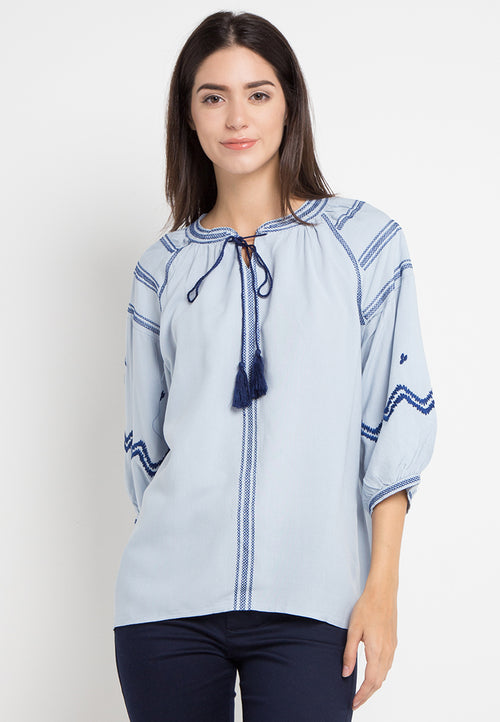 Mineola Embroidery Tie-Neck Blouse Blue (11805101FU)