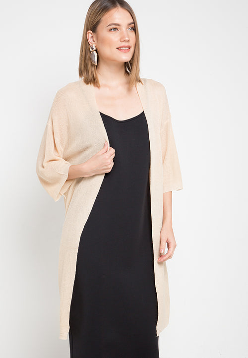 Mineola Long Knit Cardigan Cream