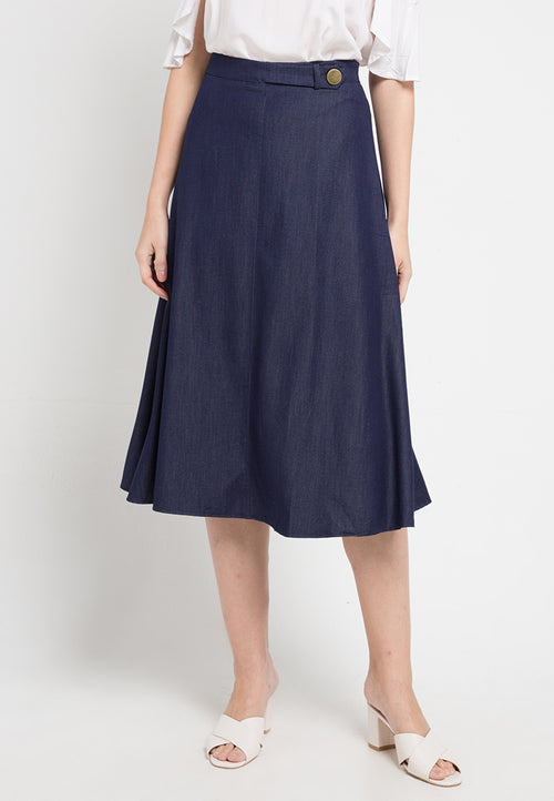 Mineola A-Line Midi Skirt Dark Blue