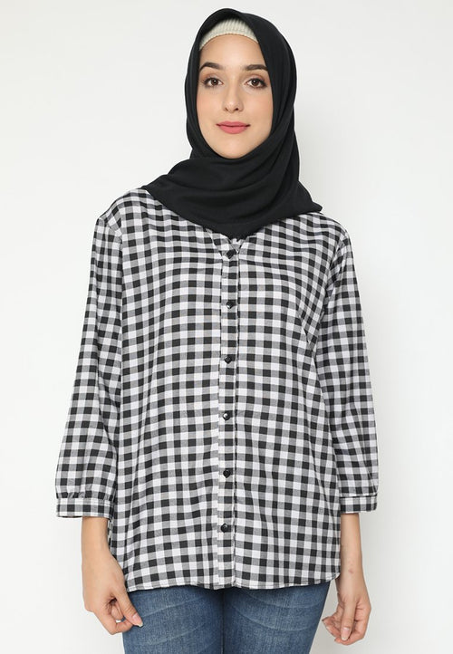 Mineola Hijab Plaid V-Neck Muslim Blouse