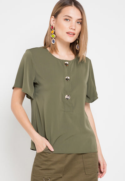 Mineola Button Front Blouse Green