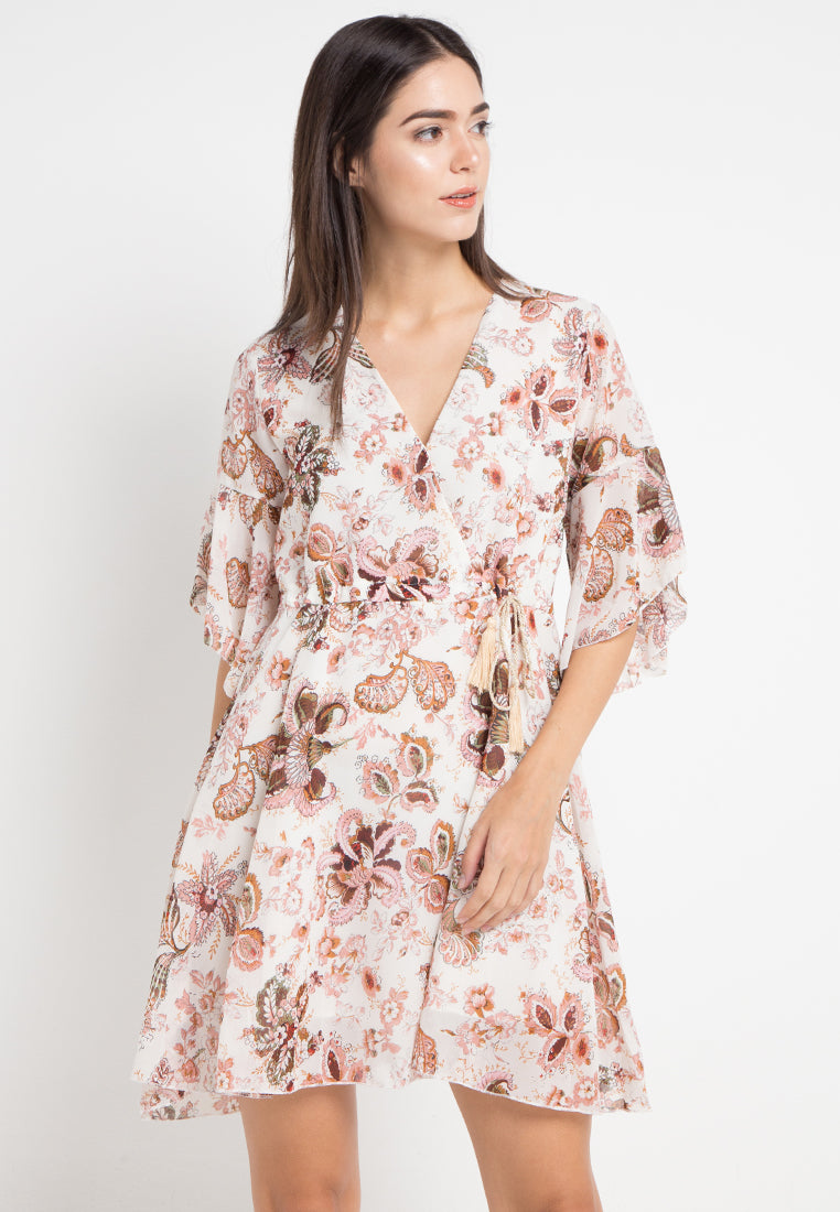 Mineola V-Neck Kimono Sleeve Mini Dress Cream