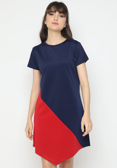 Mineola Two Tone Dress Navy
