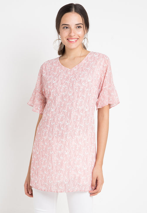 Mineola V Neck Chiffon Midi Dress Pink