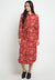 Mineola Abtract Pattern Long Dress Red