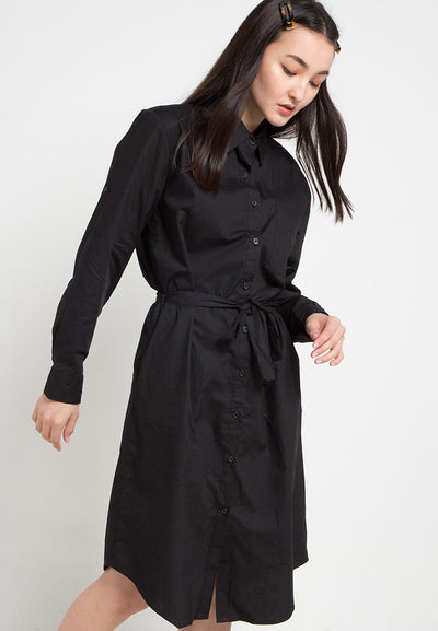 Mineola Button Down Cotton Dress Black