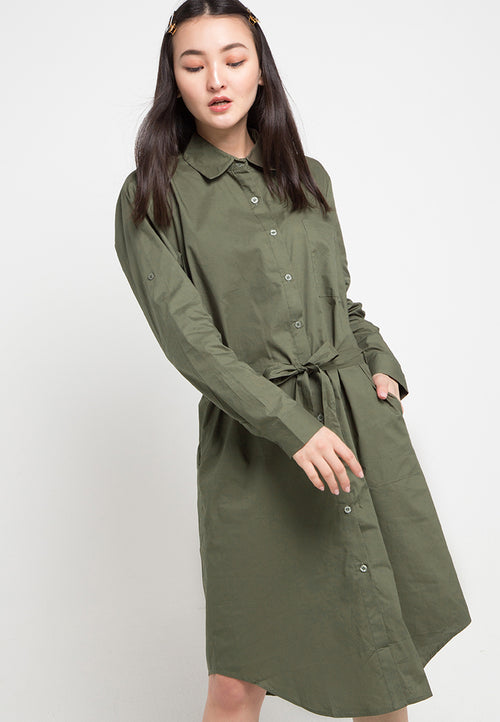Mineola Button Down Cotton Dress Green