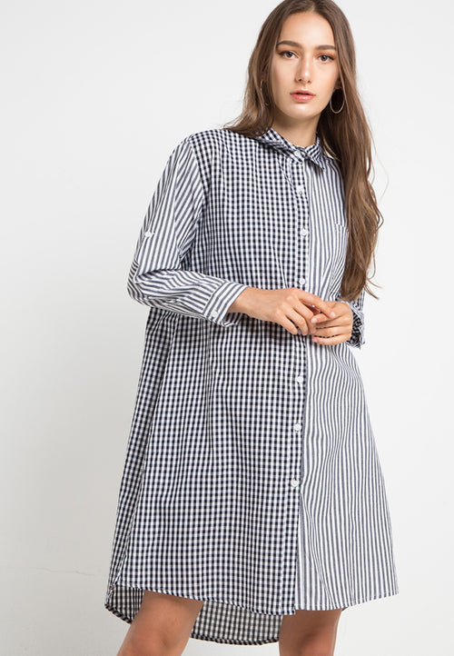 Mineola Checkered Stripe Dress Black