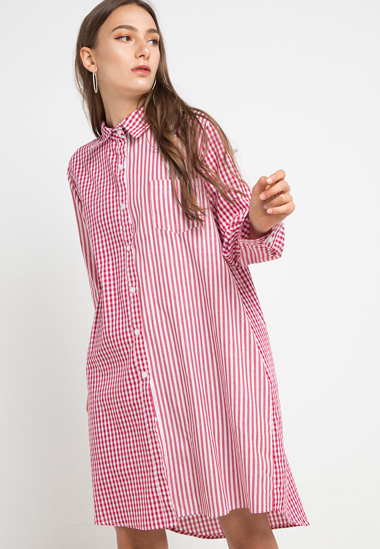Mineola Checkered Stripe Dress Red