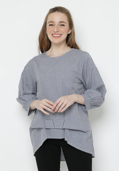 Mineola Plaid Front Ribbon Tie Top